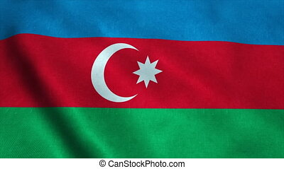 Realistic Ultra-HD flag of the Azerbaijan waving in the...