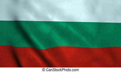 Realistic Ultra-HD flag of the Bulgaria waving in the wind. Seamless loop with highly detailed fabric texture