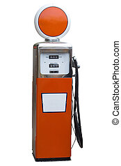Antique Gas Pump - Orange Antique Gas Pump Isolated on White