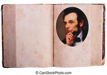 Abraham Lincoln - The old book with the image of sixteenth...