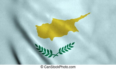 Realistic Ultra-HD flag of the Cyprus waving in the wind. Seamless loop with highly detailed fabric texture