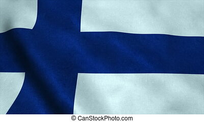 Realistic Ultra-HD flag of the Finland waving in the wind. Seamless loop with highly detailed fabric texture
