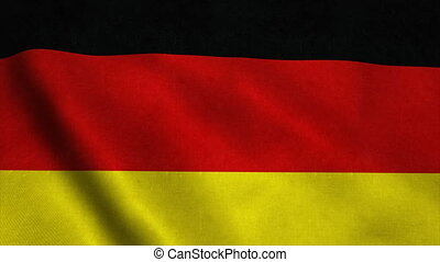 Realistic Ultra-HD flag of the Germany waving in the wind. Seamless loop with highly detailed fabric texture
