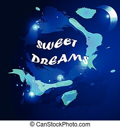 watercolored sweet dreams backgroun - abstract vector...