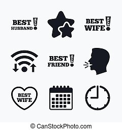 Best wife, husband and friend icons Heart love signs Awards...