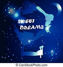 abstract sweet dreams background - vector illustration of...