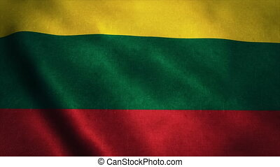 Realistic Ultra-HD flag of the Lithuania waving in the wind. Seamless loop with highly detailed fabric texture