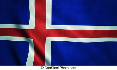Realistic Ultra-HD flag of the Iceland waving in the wind...