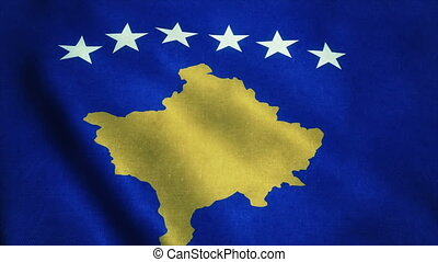 Realistic Ultra-HD flag of the Kosovo waving in the wind. Seamless loop with highly detailed fabric texture