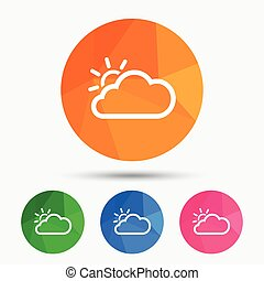 Cloud and sun sign icon Weather symbol Triangular low poly...