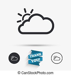 Cloud and sun sign icon Weather symbol Flat icons Buttons...