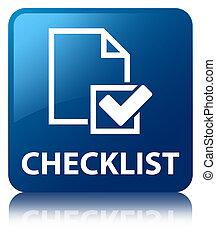 azul, Lista de verificação, botão, quadrado