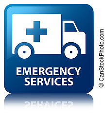 Emergency services blue square button