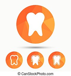 Tooth enamel protection icons Dental care signs Healthy...