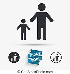 One-parent family with one child sign icon. Father with son...