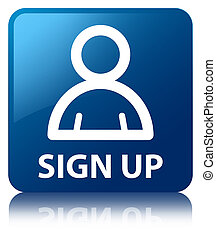 Sign up member icon blue square button