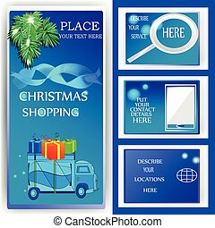 christmas shopping deliver - vector illustration of...