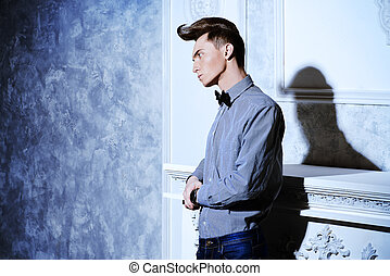 imposing retro - Fashion studio shot of a handsome male...
