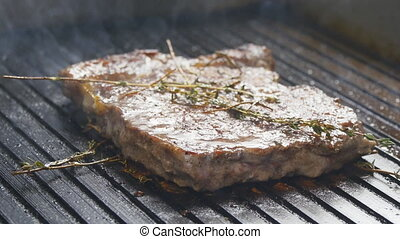Steak on the grill - Fresh Steak on the grill