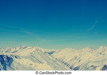 Mountain range - Peaks of the mountain range in winter,...