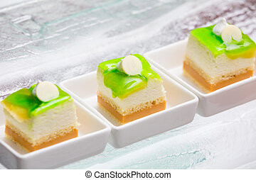 lemon custard cake in a white plate - lemon jam custard cake...