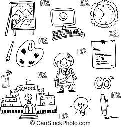 doodle of school collection stock