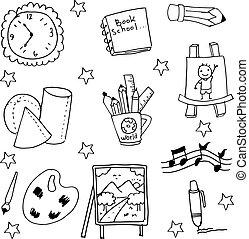 Back to school doodles set Vector illustration