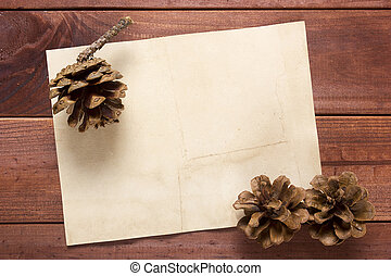 Potpourri of dried plants and decor on wooden background