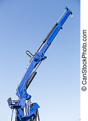 blue automobile crane