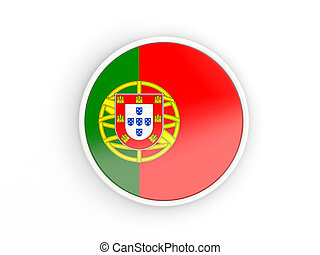 Flag of portugal. Round icon with frame