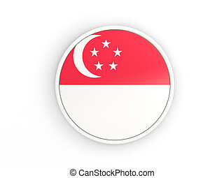 Flag of singapore Round icon with frame - Flag of singapore...