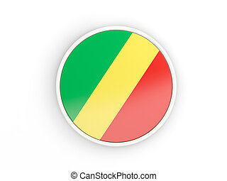 Flag of republic of the congo Round icon with frame - Flag...