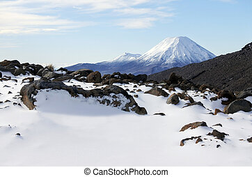 Snow landscape of Mount Ngauruhoe