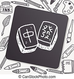Chinese New Year; Chinese mahjong doodle