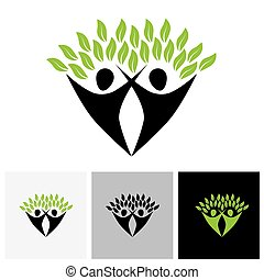 friends jumping in joy - life tree eco concept vector logo...