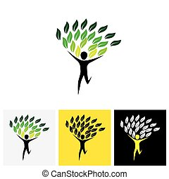 joyous lively person as tree - concept vector logo icon....