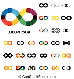 collection of infinity symbols - vector logo icons. this set...