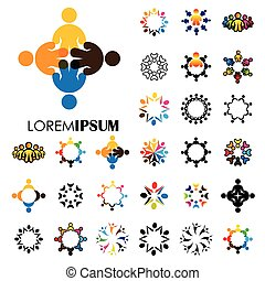 vector logo icons of people together - sign of unity,...