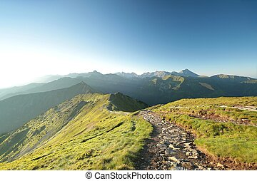 Tatra Mountains at sunrise - Panorama of the Western Tatras,...