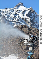 Snow Gun in Whakapapa skifield on Mount Ruapehu.Snow making...