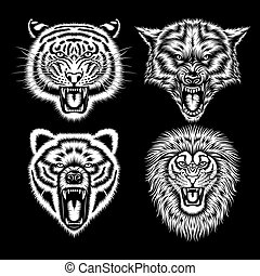 Set of Angry Animal Heads - fully editable vector...