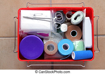 Flat lay view of first aid kit. Medical concept. copy space