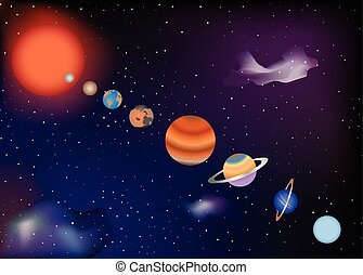 Parade of planets of the solar system