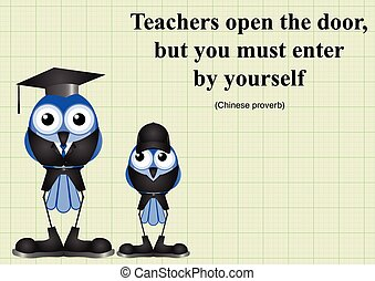 Teachers open the door Chinese proverb on graph paper...