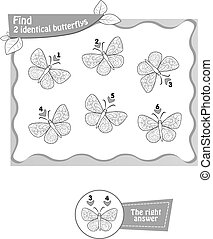 find 2 identical butterflys black - visual game, coloring...