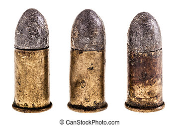 Old bullets on white - macro shot of an old rusty bullet...