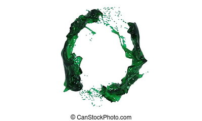 green liquid circle on white background - close-up view of...
