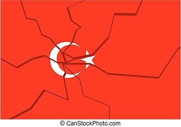 Cracked national flag of the Turkey - Image relative to...
