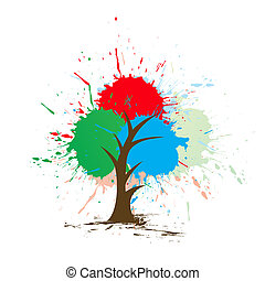 grunge Tree with white background, vector illustration