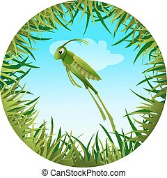 grasshopperin a clearing 2 - Insect and summer nature icon....